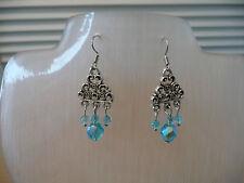 Silver Coloured Findings. Pierced Ears Aqua Chandelier Earrings with Antique