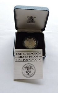 1985 Royal Mint Silver Proof £1 Welsh Leek Cased With COA