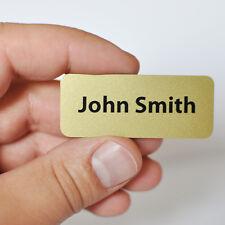 Personalised Name Badge. PVC. Gold Colour, Metallic Finish. Safety Pin