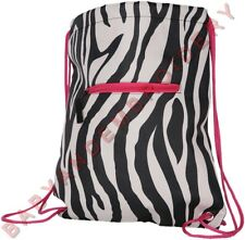 Drawstring Backpack Cinch Pack Zebra Pink