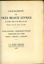 catalogue de livres XVIII°début XIX°,illustrés,sur vélin,fleurs oiseaux,costumes