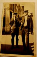 Vintage Photo Two Men Posing Dressed In Suits Newsboy Cap 1920's