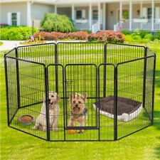 New listing 8 Panel Used Pet Playpen Dog Exercise Pen Fence Metal Exercise Barrier 39''H