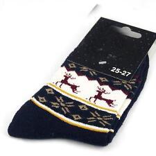 Winter Men Wool Blend SnowFlake Deer Dark Blue Casual Dress Socks SZ 10-13 m5