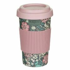 New Morris & Co Pink Floral Eco Bamboo Travel Mug Reusable Coffee Cup Grip & Lid