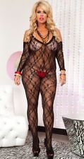 Plus Size Stretch Lace Spaghetti Straps Crotchless Bodystocking w Sleeves