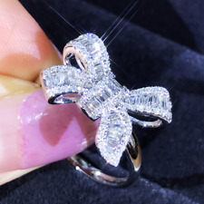 Ladies Gorgeous Bow Channel-Set Lab Diamond 18K White Gold Filled Cocktail Ring