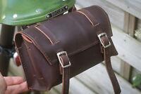 Genuine Leather Bag Bicycle Saddle Handlebar Frame Vintage Craft BROWN