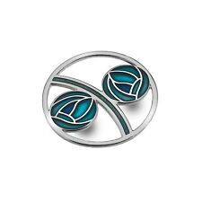 Turquoise Mackintosh Roses Brooch Curved Silver Plated Brand New Gift Packaging