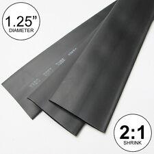 "1.25"" ID Black Heat Shrink Tube 2:1 Ratio inch/to 1-1/4"" 30mm (2x 24"" = 4 feet)"