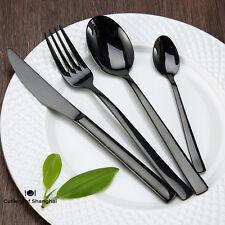 32 Pieces Stainless Steel 18/10 Black Dinnerware Cutlery Set Knife Fork Spoon