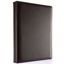 Fashion Brown Leather Cover 4 Ring Binders A4 Business Files Folder Portfolio