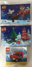 LEGO Santa 40010, Christmas Scene 40009 & Creator Jeep 7803. New & Sealed Bags.