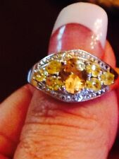 1.25CT Citrine, Sim. Yellow Sapphire, White Topaz Ring in Sterling Silver, SZ 9