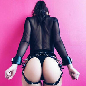 Sexy Garter Body Harness Belt faux leather Erotic Handcuff Strap Thigh Suspender
