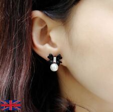 Women S Cute Bow Know Black Earrings With Pearl Uk Er Free P
