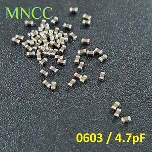 2/5/10p 0603 1608 4.7pF 50V 10% MLCC Capacitor SMD Multi Layer Ceramic C0G Loose