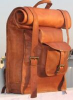 Real Genuine Leather Men's Backpack Bag laptop Satchel briefcase Brown Vintage