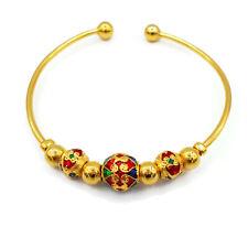 Lai Thai 18K 23K 24K Thai Style Enamel Baht Yellow Gold Gp Bracelet Bangle Women