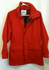 Woolrich Women's Wool Blend Red Pea Coat w/ Plaid Lining Size M