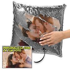 Cuscino Personalizzato con la Tua Foto Paillettes Argento 40x40 San Valentino