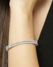 Silver-Plated AD-Studded Handcrafted Bangle Style Bracelet - XS