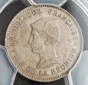 1896, Réunion (French Overseas Department). Copper-Nickel Franc Coin. PCGS AU58!