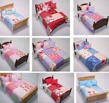 Dolls House Bedding Set -1/12 Handmade-Patchwork Effect Double & Single Bed size