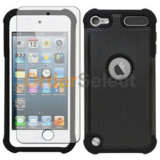 NEW Hybrid Rubber Case+LCD HD Screen Protector for Apple iPod Touch 5 5th Black