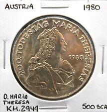 AUSTRIA D. MARIA THERESA 1980 COIN (500) SHILLINGS 640AG SILVER 24G