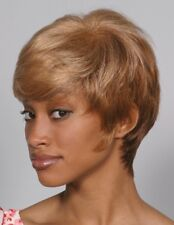 MARGARET WIG BLACK BROWN WOMAN SHORT STRAIGHT LAYERS HAIR W/ WISPY BANGS 3316