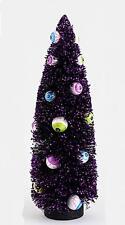 "Halloween Spooky Black Bottle Brush Sisal Tree with Eyeball Ornaments, 15"" Tall"