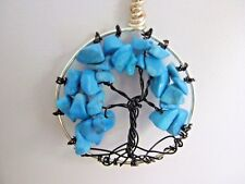 "18"" Silver Plated Chain with Wire Wrapped Turquoise Howlite Tree of Life Pendant"