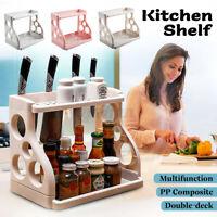 2 Tier Kitchen Shelf Pantry Storage Can Spice Jar Knives Rack Shelf Organiser