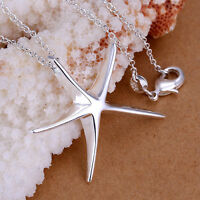 *UK Shop* 925 SILVER PLT STARFISH / STAR PENDANT NECKLACE SHOOTING LADIES DAVID