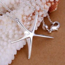 *UK* 925 SILVER PLT STARFISH / STAR PENDANT NECKLACE SHOOTING LADIES SEA DAVID