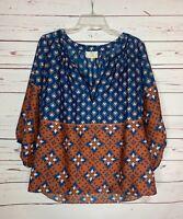 Collective Concepts Stitch Fix Women's L Large Blue Cute Spring Top Blouse Shirt