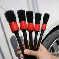 5pcs Detailing Brush Cleaning Natural Boar Hair Brushes Car Auto Detail Tool Kit