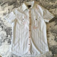 DIESEL Mens White Blue Red Striped Stripe Button Up Short Sleeve Shirt M Medium