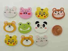 10 boutons Tète animal bois découpé mix motifs 20mm DIY déco scrapbooking loisir