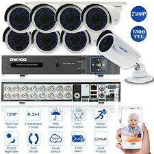 16 Channel 1500TVL 720P CCTV DVR Security System Kit + 8x Outdoor Camera P5G8