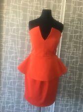 Aqua Couture Orange Scuba Deep V Peplum Mini Bodycon Dress 8