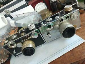 TWO VINTAGE ARGUS C3 50mm f/3.5 COATED CINTAR LENS FILM CAMERA RANGEFINDER USA