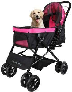 Hot Pink 4 WheelReversible Foldable Pet Dog Cat Stroller Pushchair Buggy Pram