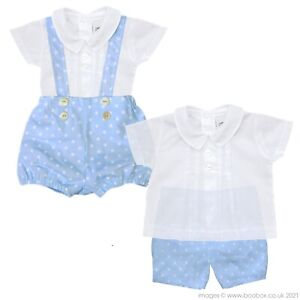 Baby Boys 100% Cotton Summer Spanish Style Stars Micro Cord Blue Outfit 0-18M