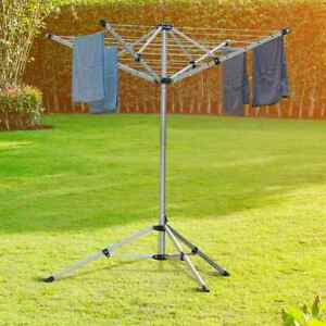 Heavy Rotary Clothes Airer Dryer 4 Arms Washing Line Free Stand Patio Camping