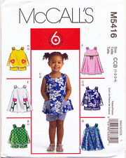 MCCALL'S SEWING PATTERN 5416 TODDLERS/GIRLS SZ 1-4 A-LINE DRESSES, TOPS & SHORTS