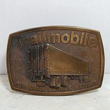 1970's Trailmobile Our Name Carries Weight 3D Brass Belt Buckle Trucking Semi
