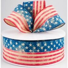 """2.5"""" Patriotic Canvas Wired Ribbon, Stars, Stripes, Flag Wired Ribbon - 5 Yards"""