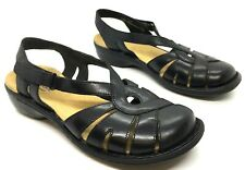 Clarks Bendables Ina Charm Womens Size 7.5 M Black Leather Slingback Sandals